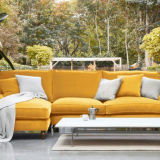 Whinfell Chaise Sofa Varese Primrose in stylish living room with garden backdrop