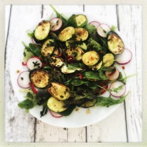 Plateful of courgette salad with mint and chilli dressing