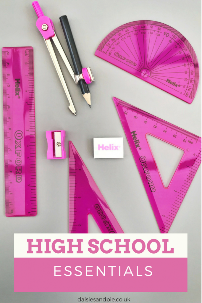 "Oxford maths set in pink. Text overlay saying ""high school essentials"""