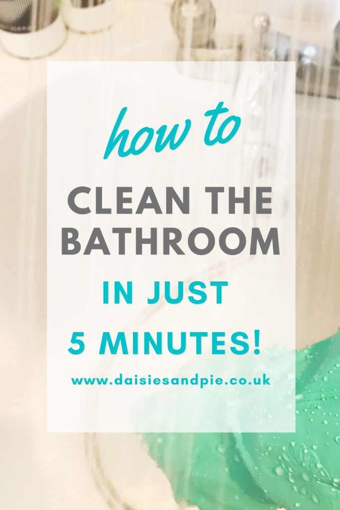 "white bath being cleaned with blue rubber gloves and a shower head to rinse the cleaning product away. Text ""how to clean the bathroom in just 5 minutes"""