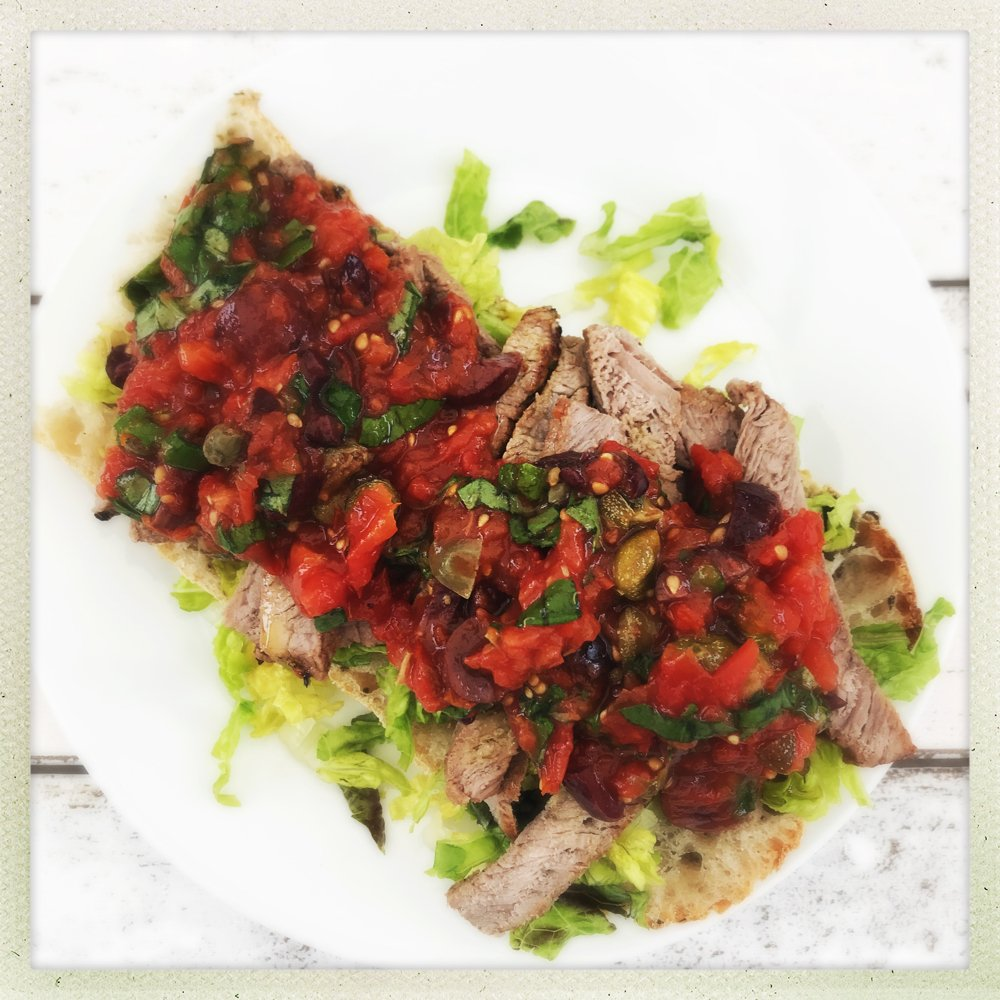 toasted ciabatta topped with sirloin steak and Italian roast tomato salsa