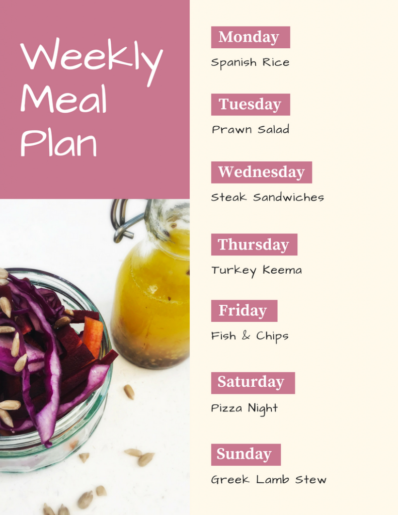 Weekly family meal plan - Monday - Spanish Rice, Tuesday - Prawn Salad, Wednesday - Steak Sandwich, Thursday - Turkey Keema, Friday - Fish and Chips, Saturday - Pizza Night, Sunday - Greek Lamb stew