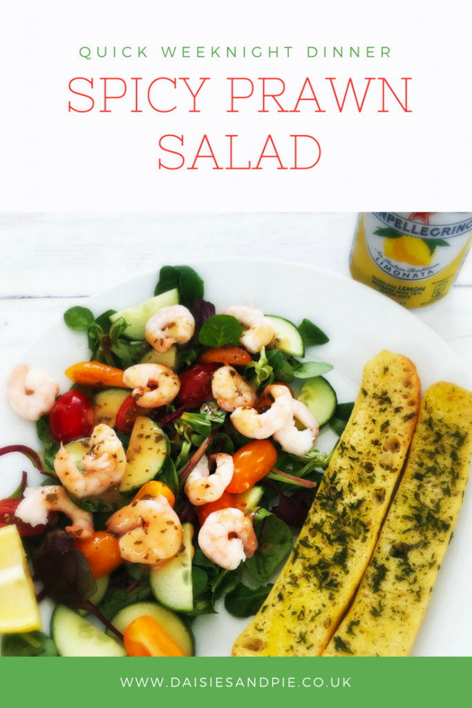 """plateful of homemade spicy prawn salad served with spicy dressing and ciabatta slices - can of limonata pellegrino to the side. Text overlay saying """"quick weeknight dinner spicy prawn salad"""""""