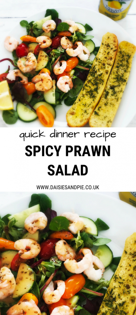 """plateful of homemade spicy prawn salad served with spicy dressing and ciabatta slices - can of limoata pellegrino to the side. Text overlay saying """"quick dinner recipe spicy prawn salad"""""""