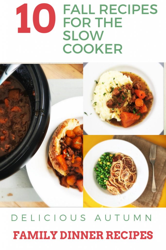 """3 images - lamb stew in a crockpot being ladled onto a baked potato, plate of pork and cider casserole with mashed potatoes, plate of slow cooker bolognese. Text overlay saying """" 10 fall recipes for the slow cooker"""""""
