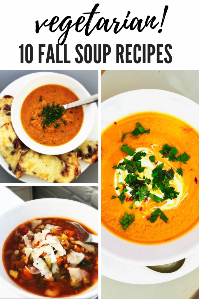 "three bowls of vegetarian fall soup - spicy butternut squash soup, roasted pepper soup and minestrone soup. Text overlay ""vegetarian 10 fall soup recipes"""