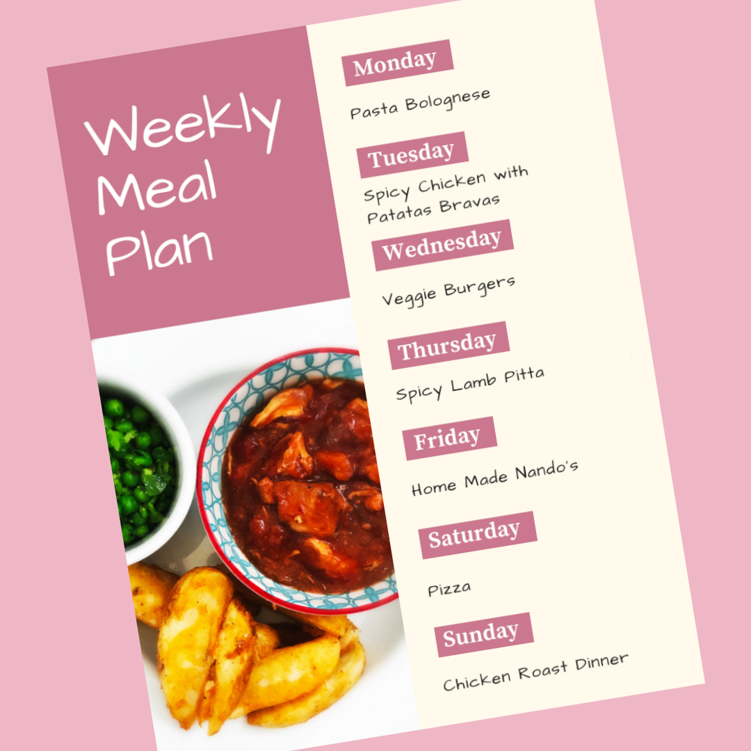weekly family meal plan - Monday - pasta bolognese, Tuesday - spicy chicken, patatas bravas, Wednesday - veggie burgers, Thursday - spicy lamb pittas, Friday - home made nando's, Saturday - pizza night, Sunday - chicken roast dinner
