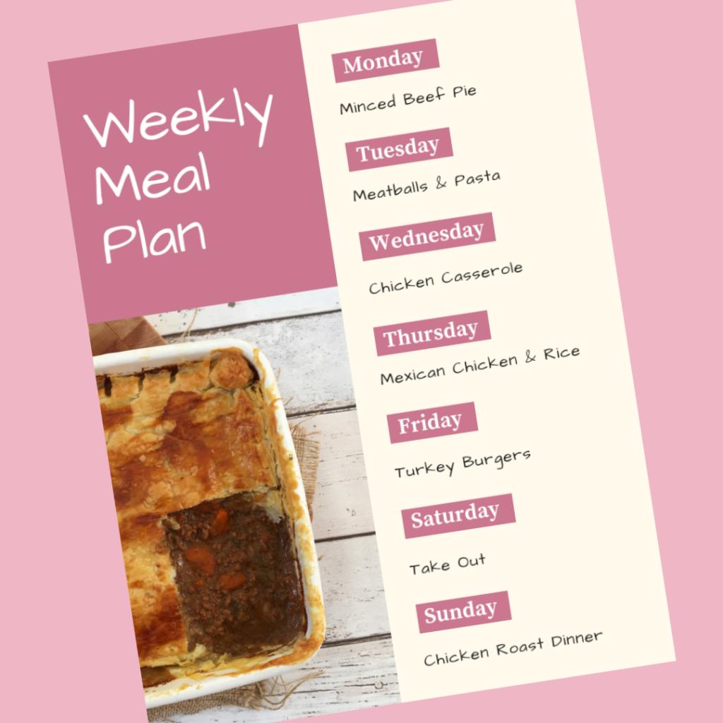 Family Meal Plan 24th September 2018