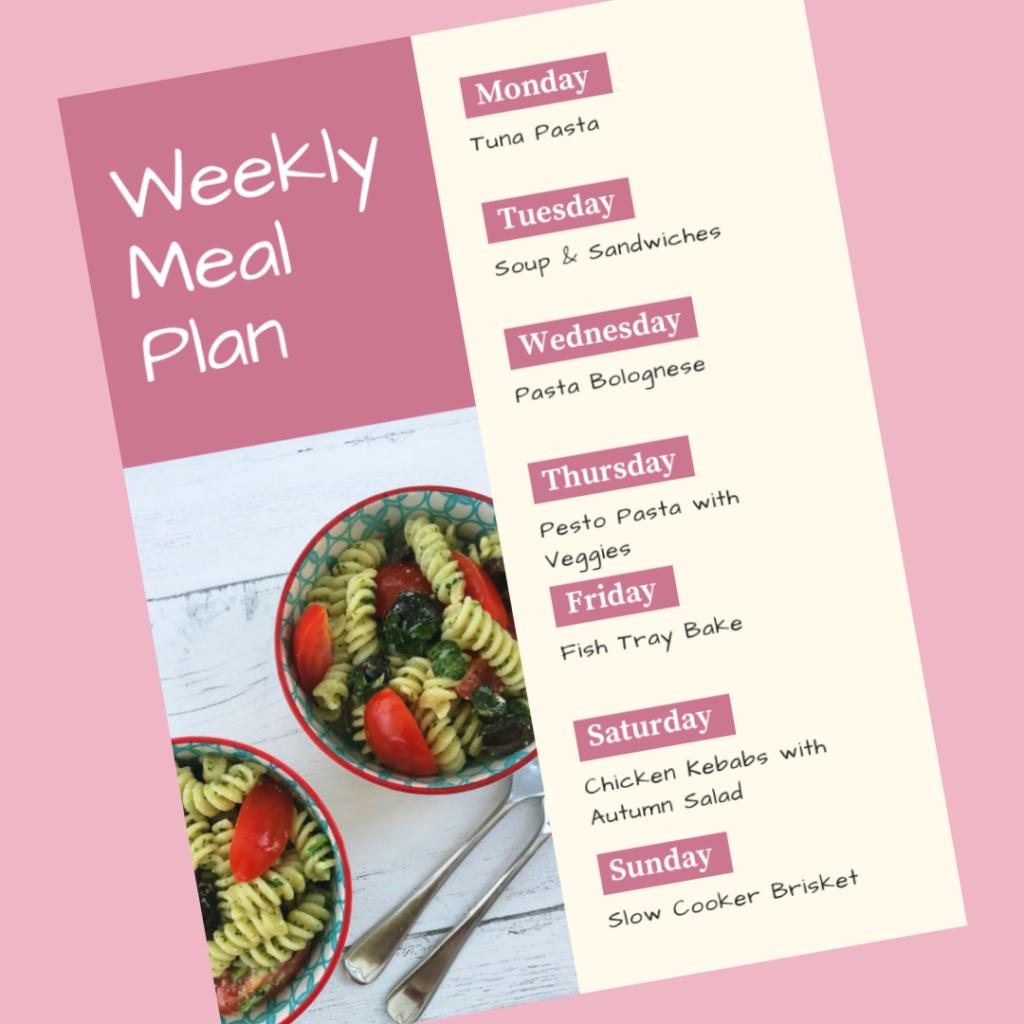 Family Meal Plan 3rd September 2018