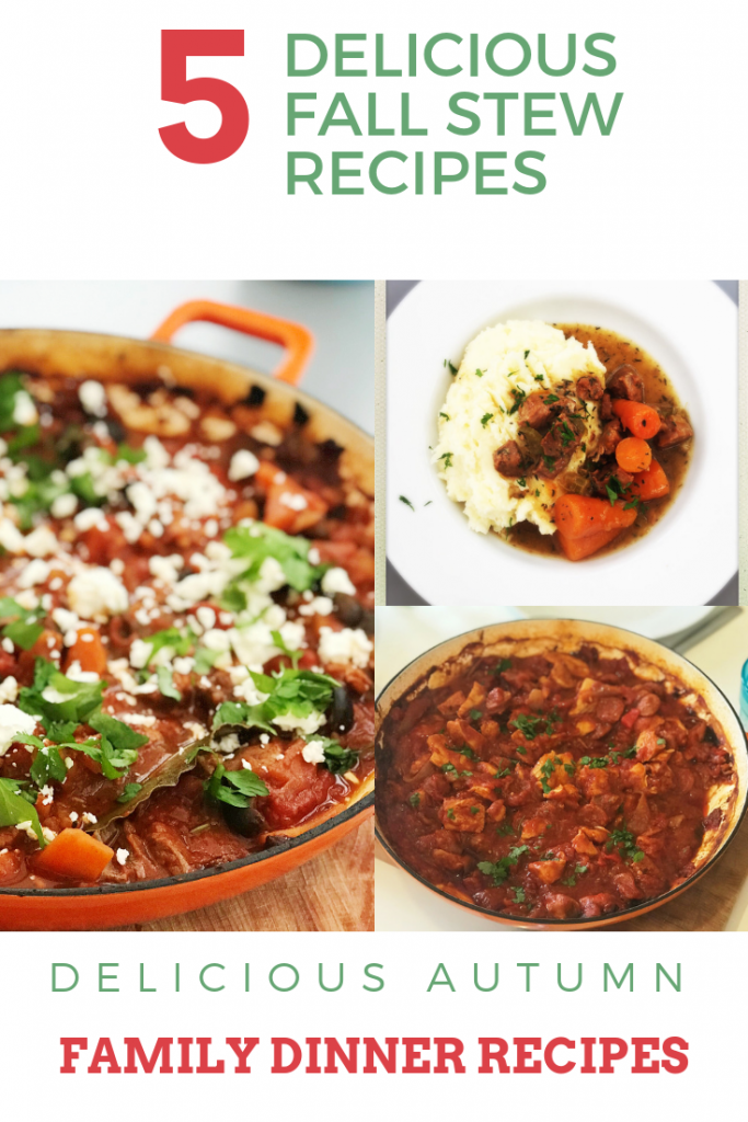 """3 images - enamel pan full of Greek stew, plate of pork and cider stew with creamy mashed potato, enamel pan full of homemade Spanish chicken stew. Text overlay saying """"delicious fall stew recipes"""""""