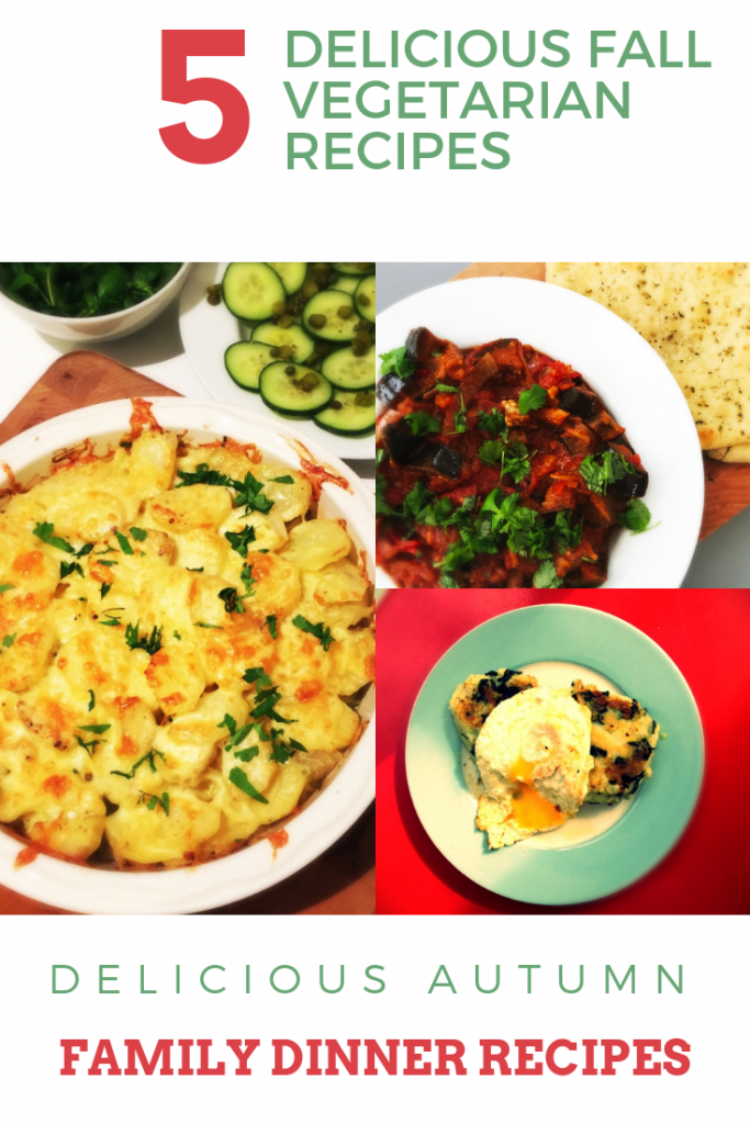 """3 images - cheesy vegetable hotpot in pie dish with cucumber salad, bowlful of homemade tomato and aubergine stew with garlic naan bread, plate full of bubble and squeak with fried egg on top. Text overlay saying """"delicious fall vegetarian recipes"""""""