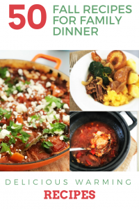 "three images - greek lamb stew, plated up roast beef dinner with Yorkshire pudding, crockpot filled with rustic chicken casserole. Text overlay saying "" 50 Fall recipes for family dinner"""