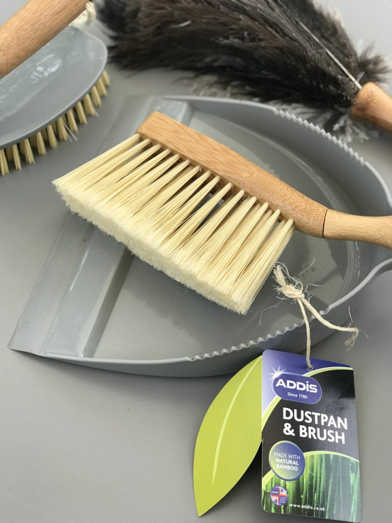 Addis grey and natural bamboo dustpan and brush