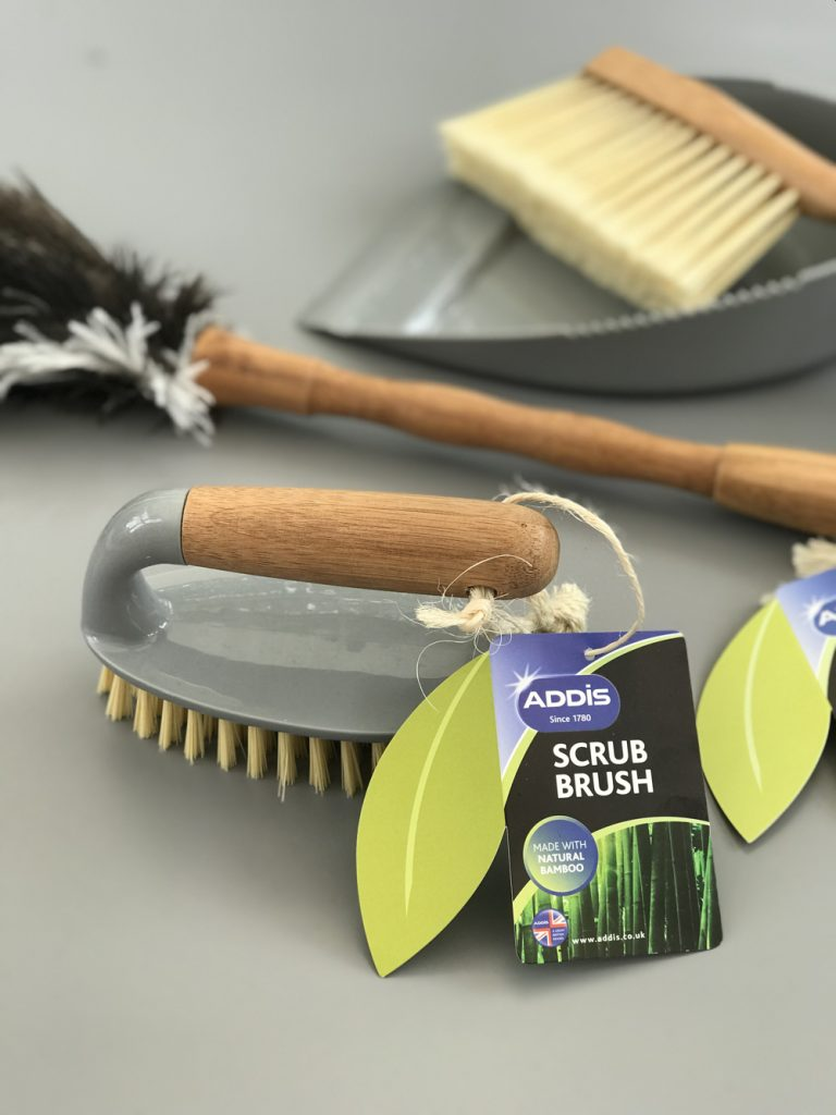 Addis grey and natural bamboo scrub brush