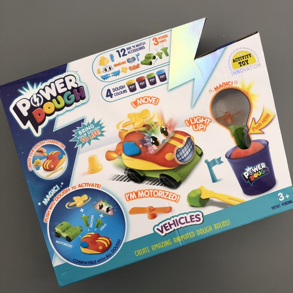 box of power dough with moveable car
