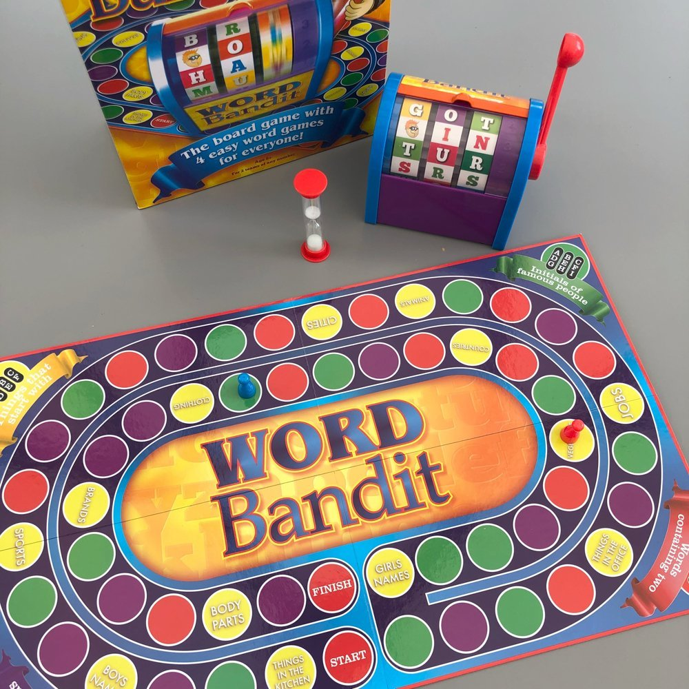 Word Bandit board game with letter spinner