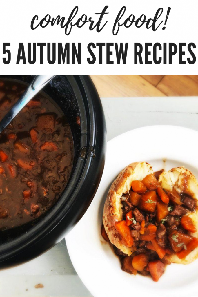 """crockpot pan filled with traditional lamb stew - next to the crockpot is an oven baked potato filled with fall stew. Text overlay """"comfort food 5 autumn stew recipes"""""""