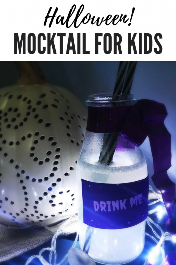 "Halloween mocktail recipe for kids - silver sparkly shining drink served bottles with drink me stickers on the side. Text overlay ""halloween mocktail for kids"""