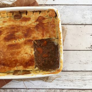 enamel tray with homemade minced beef pie