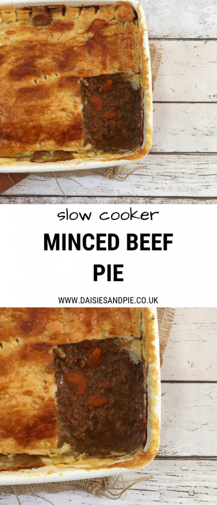 "enamel tray with homemade minced beef pie. Text overlay saying ""slow cooker minced beef pie"""