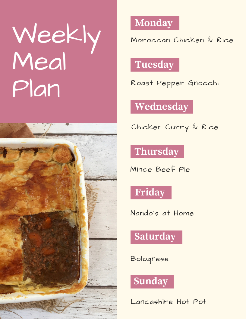 family meal plan - Monday - moroccan chicken and rice, Tuesday - roast pepper gnocchi, Wednesday - chicken curry and rice, Thursday - mince beef pie, Friday - homemade Nando's, Saturday - bolognese, Sunday - lancashire hot pot