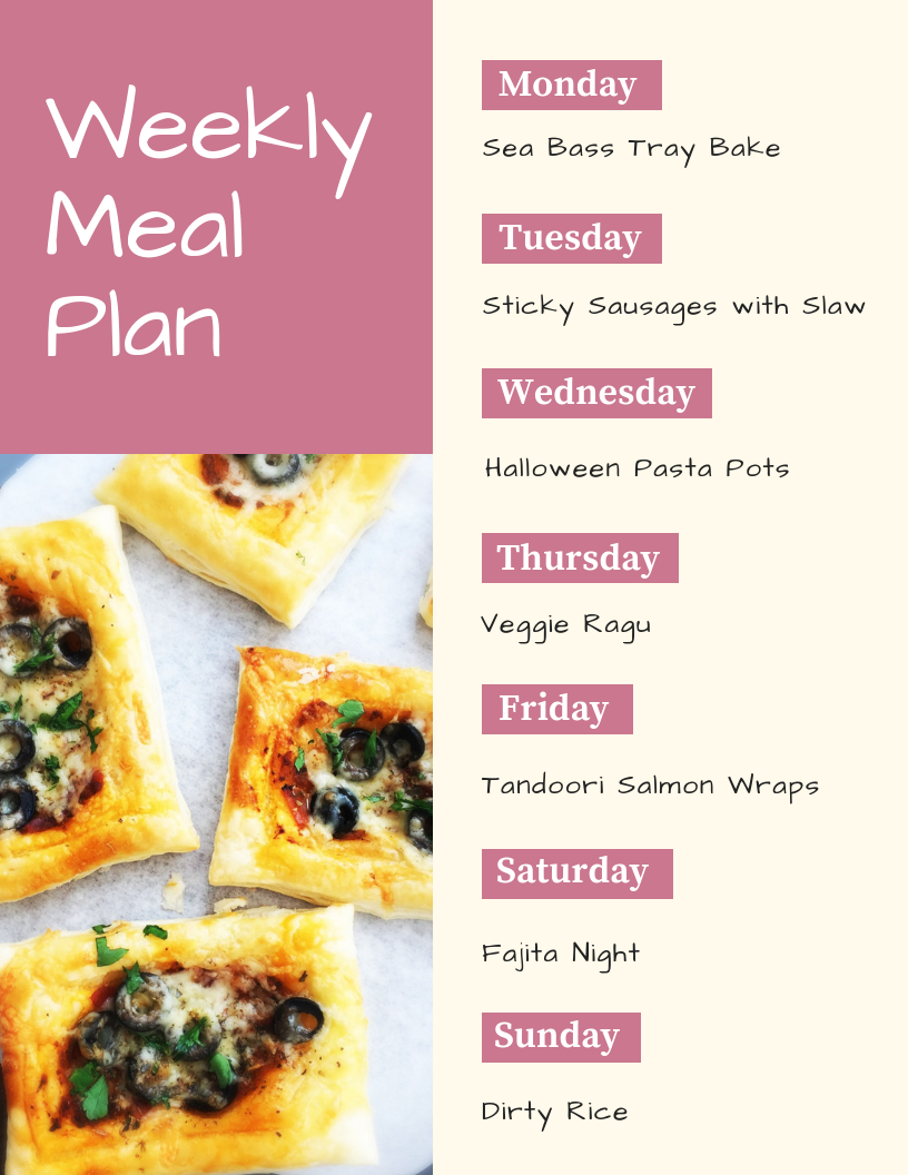 weekly family meal plan - Monday - sea bass tray bake, Tuesday - sticky sausages with homemade slaw, Wednesday - halloween pasta pots, Thursday - veggie ragu, Friday - tandoori salmon wraps, Saturday - fajita night, Sunday - dirty rice