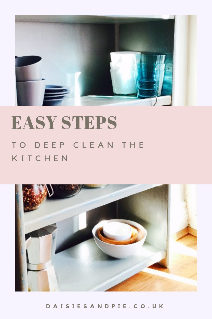 """grey kitchen shelving unit with glasses and grey cups and saucers and nest of bowls. Text overlay saying """"easy steps to deep clean the kitchen"""""""