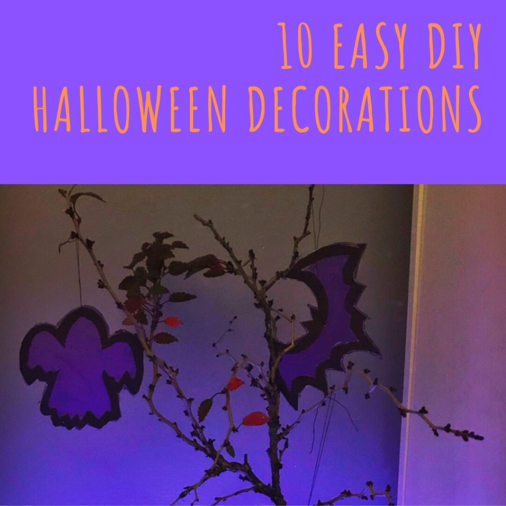 """homemade Halloween tree with purple bats and ghosts hanging from branches. Text """"10 easy DIY Halloween decorations"""""""