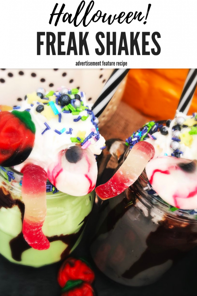"""halloween milkshakes - green and black milkshakes in kilner jars topped with whipped cream, halloween sprinkles, jelly sweets and jelly worms. Text overlay """"Halloween freak shakes"""""""