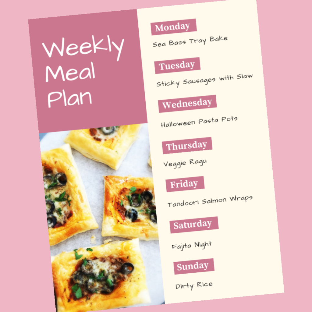 Weekly family meal plan 29th October 2018