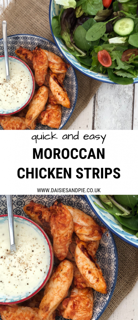 "bowl of moroccan chicken strips with lemon pepper yogurt dip alongside large bowl of salad. Text overlay saying ""quick and easy Moroccan chicken strips"""