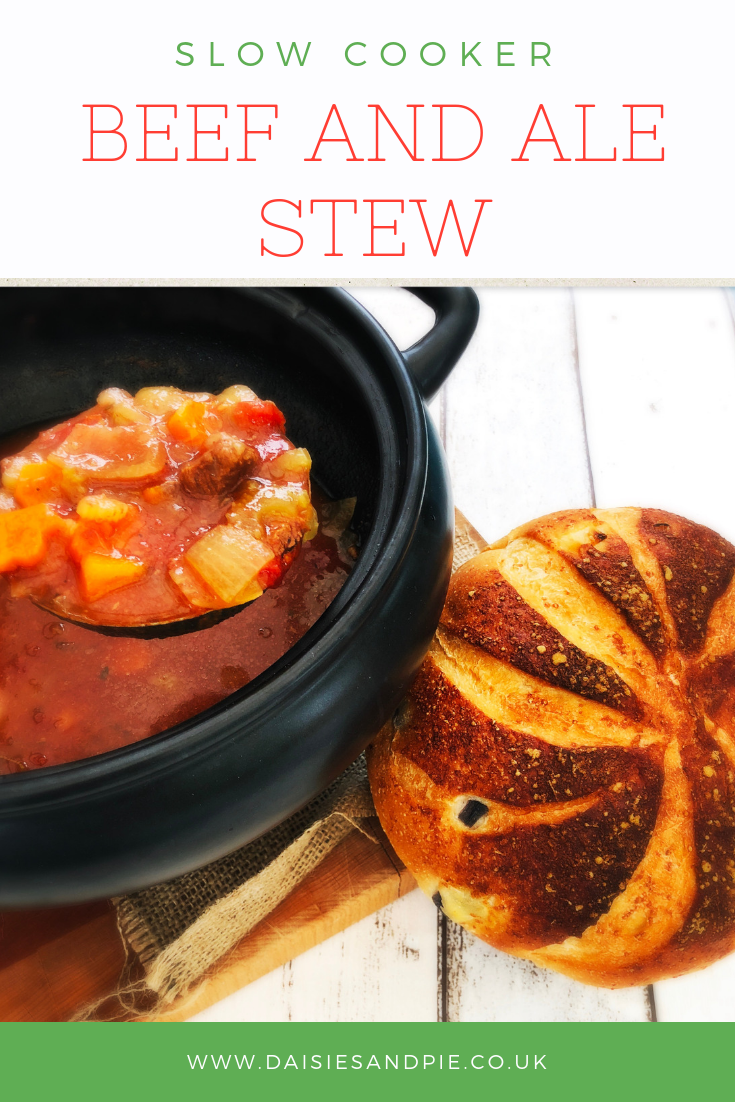 "crock pot filled with homemade beef and ale stew alongside an artisan cheese and onion loaf. Text overlay saying ""slow cooker beef and ale stew"""