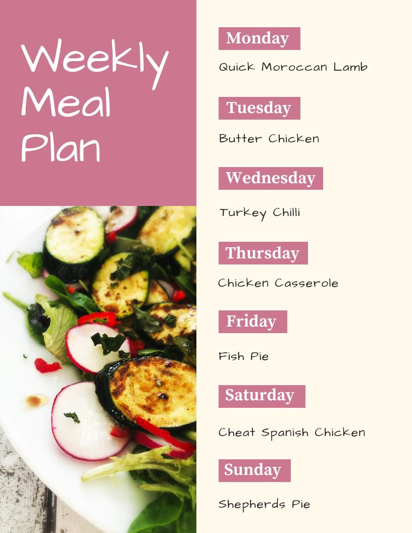weekly family meal plan - Monday - quick Moroccan lamb, Tuesday - butter chicken, Wednesday - turkey chilli, Thursday - chicken casserole, Friday - fish pie, Saturday - cheat spanish chicken, sunday - shepherds pie