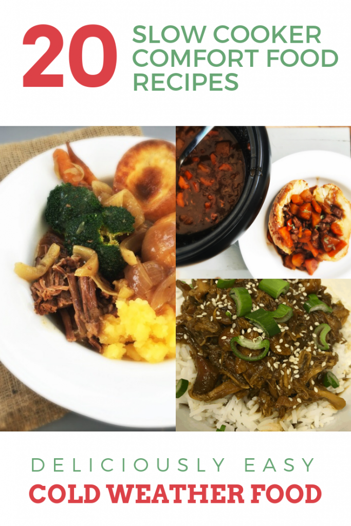 """slow cooker brisket dinner, slow cooker lamb stew, slow cooker garlic and honey shredded chicken with noodles. Text overlay saying """"20 slow cooker comfort food recipes - deliciously easy cold weather food"""""""
