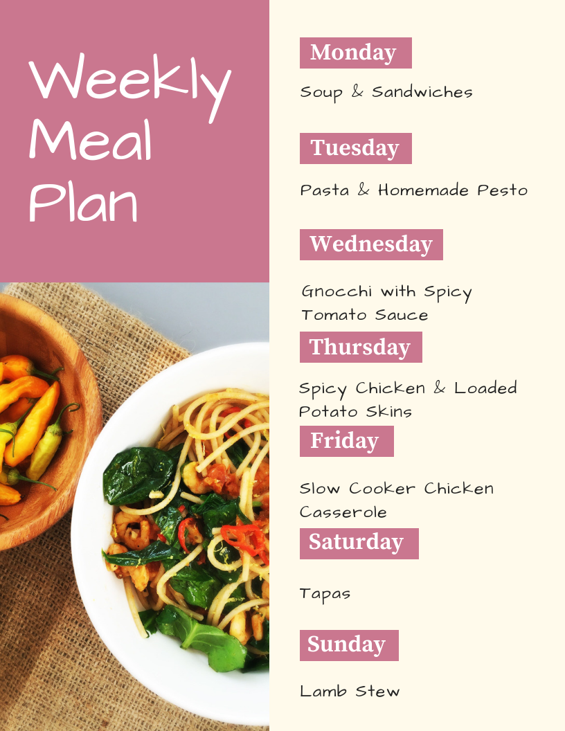 printable weekly family meal plan - Monday - soup and sandwiches, Tuesday - pasta and homemade pesto, Wednesday - gnocchi with spicy tomato sauce, Thursday - spicy chicken and loaded potato skins, Friday - slow cooker chicken casserole, Saturday - tapas, Sunday - lamb stew