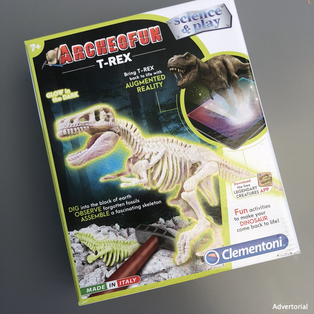 Archeofun T-Rex glow in the dark science play kit in the box