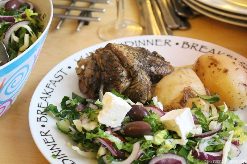 greek lamb kleftico served with greek salad