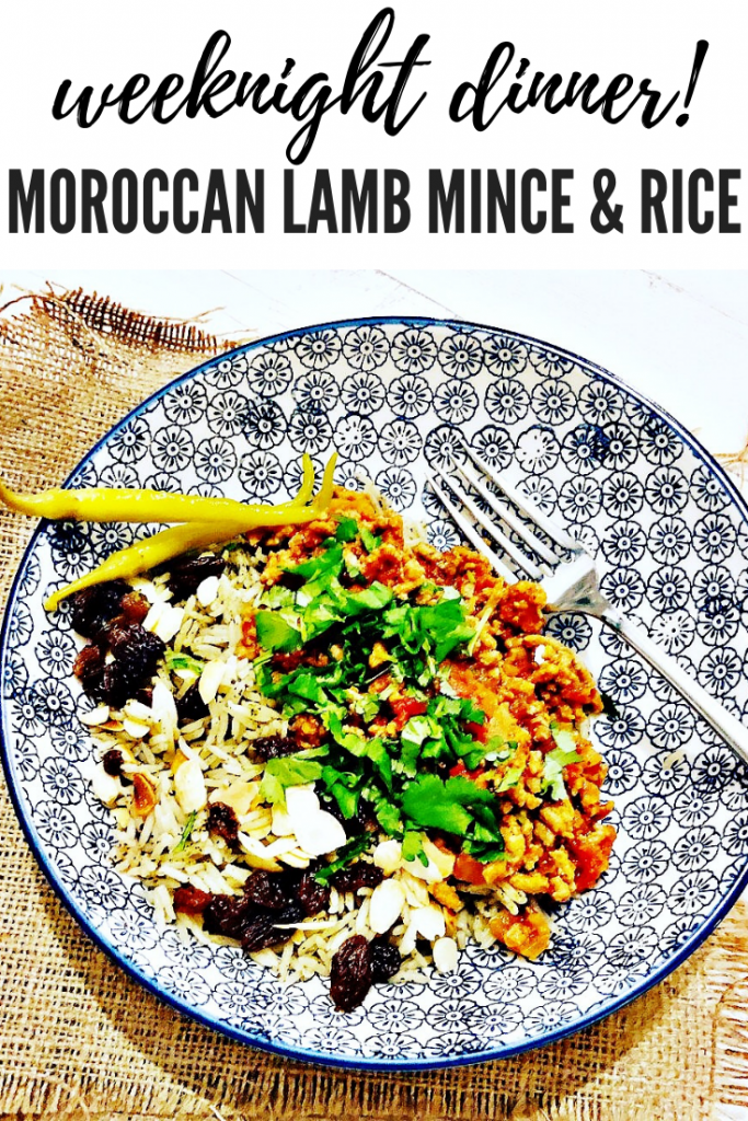 """moroccan lamb mince with rice, scattered over are sultanas and flaked almonds, served with two chilli pickled chilli peppers. Text overlay """"weeknight dinner Moroccan lamb mince and rice"""""""