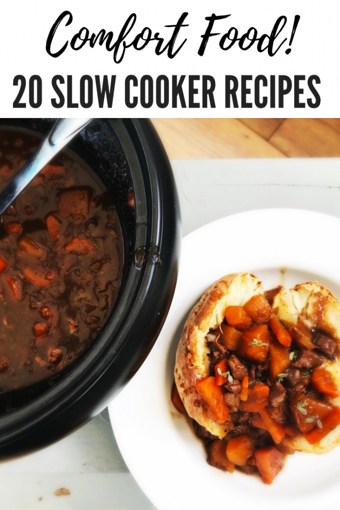 "slow cooker lamb stew recipe served in oven baked potatoes. Text overlay ""comfort food - 20 slow cooker recipes"""