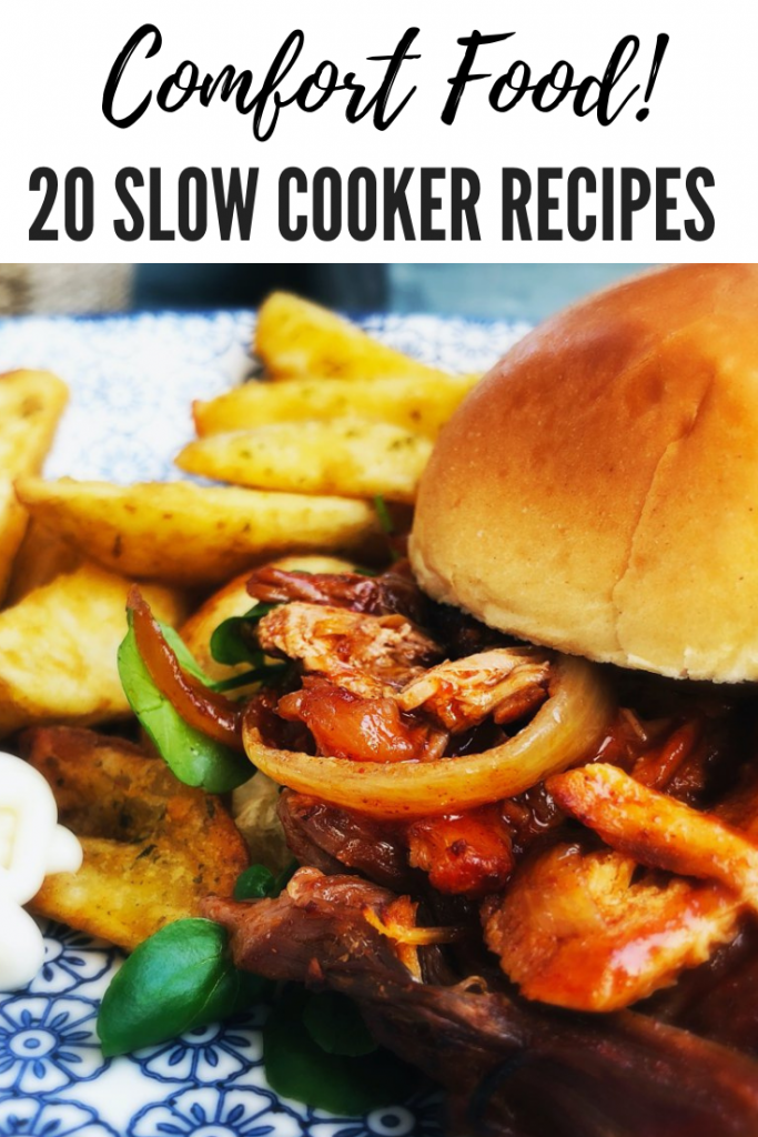 "slow cooker pulled pork served in brioche rolls with peppers and onions and a side of potato wedges. Text overlay ""comfort food - 20 slow cooker recipes"""