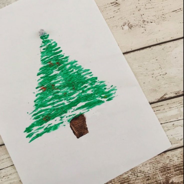 fork painted Christmas tree picture