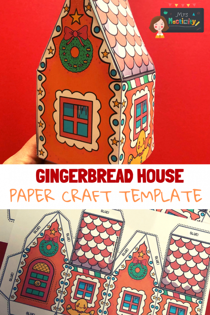 "paper gingerbread house. Text overlay saying ""gingerbread house paper craft template"""