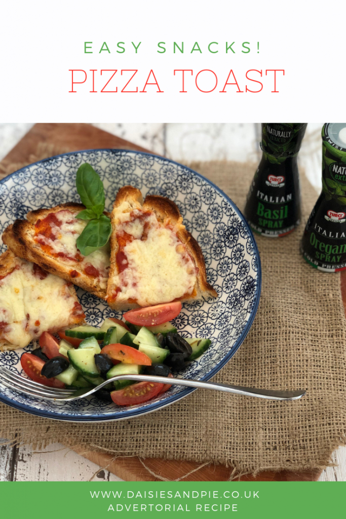 """pizza toast with side salad in a shallow blue bowl. Turci herb seasoning sprays stood next to bowl. Text overlay saying """"easy snack - pizza toast"""""""