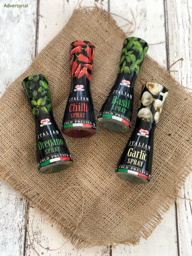 Turci seasoning sprays in oregano, chilli, garlic and basil flavour on a hessian cloth