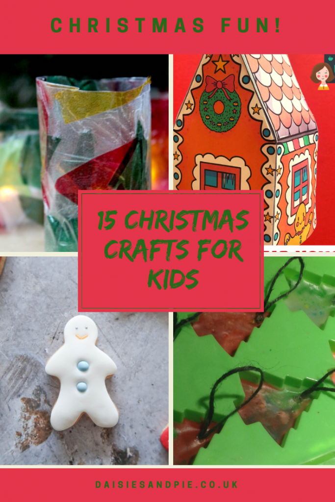 "4 images of kids christmas crafts - stained glass tea light holder, paper gingerbread house, iced snowman biscuits, melted crayon christmas trees. Text overlay saying ""15 Christmas crafts for kids"""