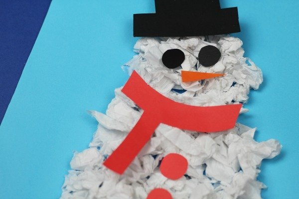 snowman collage made from scrunched up paper