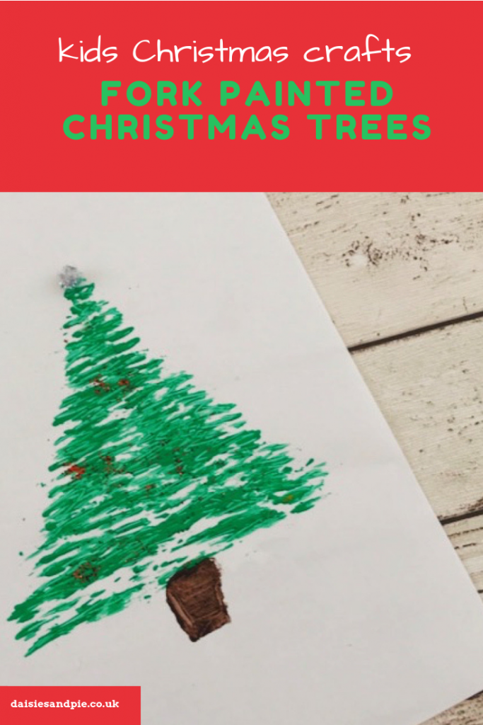 "fork painted Christmas tree picture. Text overlay saying ""kids Christmas crafts - fork painting Christmas trees"""