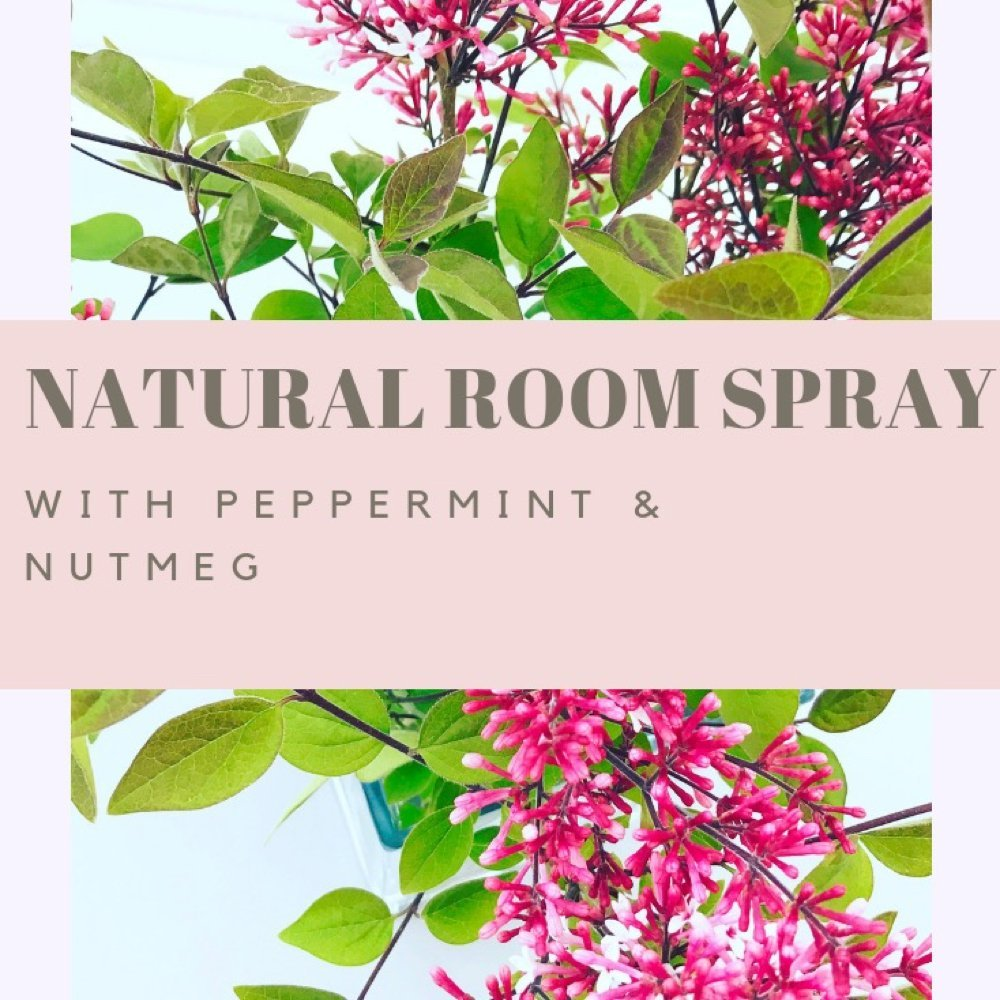 "vase of lilacs - text overlay saying ""natural room spray with peppermint and nutmeg"""