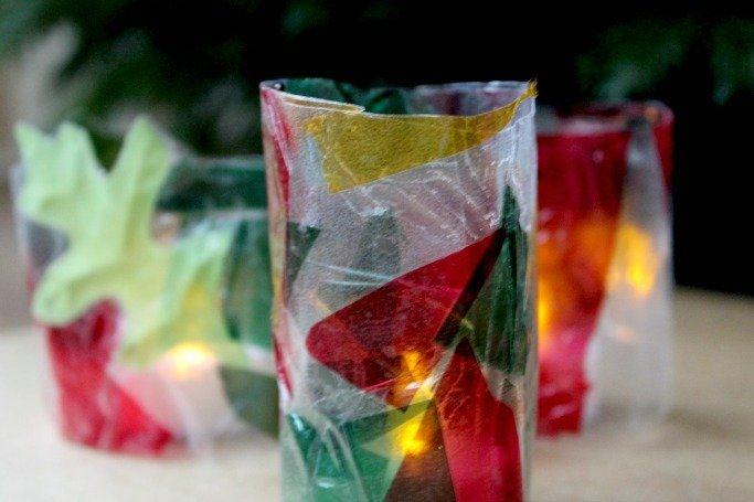 stained glass tea light holder craft made by kids