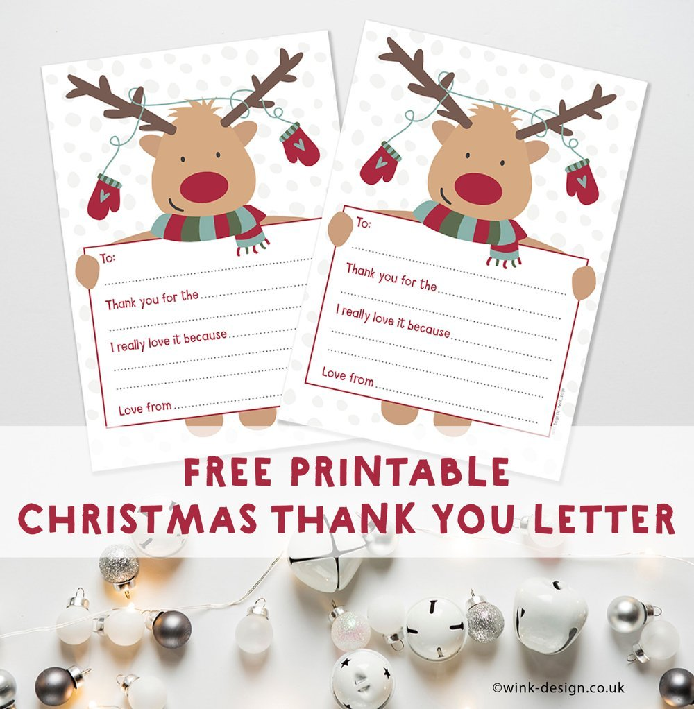 "reindeer thank you letters. Text overlay saying ""free printable Christmas thank you letter"""